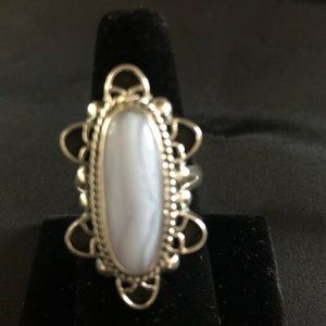 Sterling Silver Lace Agate Pointer Ring